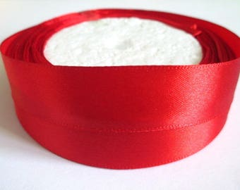 1 reel 22 m 20mm red colored satin ribbon