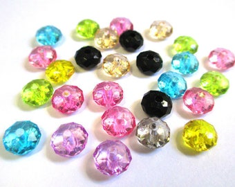20 Acrylic flat round beads faceted 8x5mm color mix