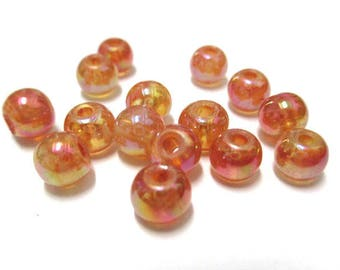 20 bright orange speckled glass 6mm beads