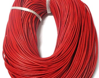 1 meter red 2mm leather cord