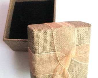 1 box gift box for rings 43x60mm Brown cardboard covered with burlap