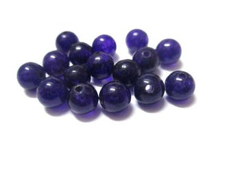 10 pearls dark purple natural jade 6mm (B)