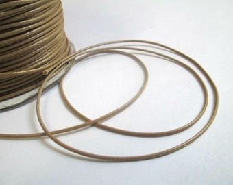 5 m thread cord waxed light brown polyester 1 mm