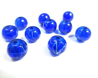 10 blue, white translucent 8mm beads