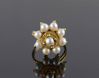 14k 5mm Pearl Fancy Engraved Cupcake Ring Gold