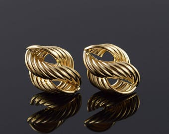 14k 22x15 Hollow Twist Hoop Stud Earrings Gold