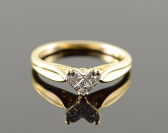 14k 0.25 CTW Princess Cut Invisible Heart Engagement Ring Gold