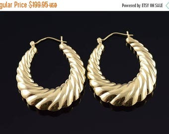 Big SALE 14k 43.3 mm Scalloped Oval Twist Earrings Gold