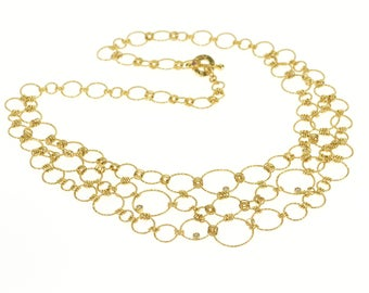 """18k Roberto Coin Textured Chain Link Ornate Necklace Gold 16.6"""""""