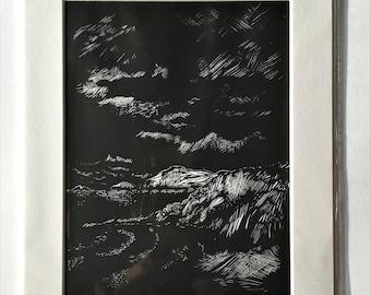 Cornish print, Cornwall art, black and white print, seaside art.