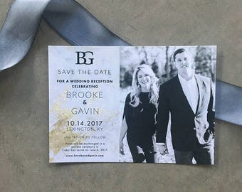 Marbled Beauty Save the Date Cards with envelopes