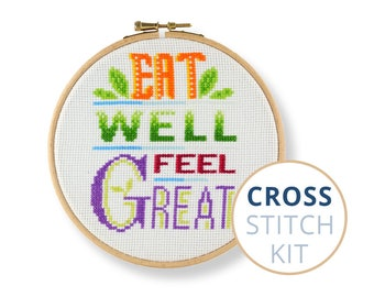 Eat Well Feel Great, crossstitch kits, new cross stitch kits, Quote, cross stitch embroidery kits, cheap counted cross stitch kits, Vegan
