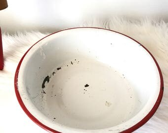 Red Rimmed Enamel Bowl