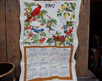 1987 Vintage Cotton Calendar Tea Towel, Retro Linens, Crafting Textile, Retro Kitchen, Collectable Calendar Towel, Birds and Flowers