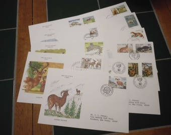 10 Vtg First Day of Issue Postage Stamps Envelopes International Animals 1980s