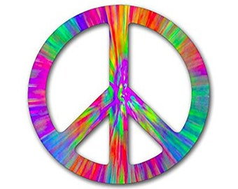 Tie Dye Peace Sign Symbol Sticker (dyed vinyl decal)