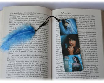 Plastified bookmark woman and blue butterfly