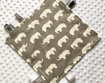 Luxuriously soft baby elephant taggie blanket in grey and white for baby boy or girl present