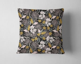 Mustard Forest Floral throw pillow