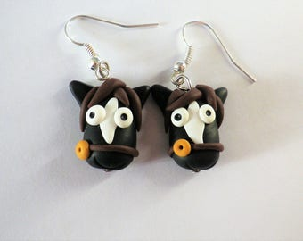 Black polymer clay earrings riding fun white apache