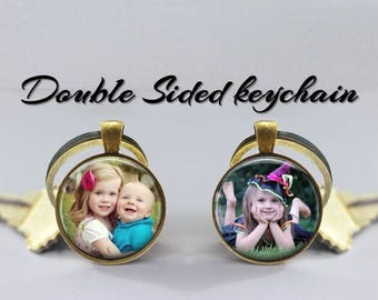 Photo Keychain  - Custom Children Dog Pet Photo Keyring - Double Sided Photo Keychain swivel hook- Silver or Bronze -gift for Dad