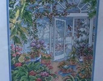 Bucilla Winter Greenhouse Counted Cross Stitch Kit 41551  Flowers Flowerpot Bird  Linda Gillum 1996 Kit Hostess Gift Kooler Design Studio