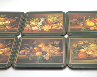 Vintage Pimpernel Coasters Still Life And Flowers Floral  Hostess Gift England Cork Back  Set Of Six In Box