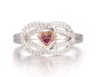 Diamond Engagement Ring, Pink Diamond Ring, Heart Shape Diamond Ring, Infinity Diamond Ring with pink Heart Diamond