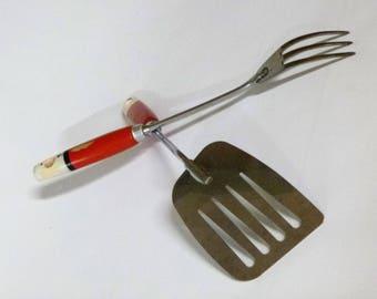 Red handled Prestige type vintage kitchen utensils X 2