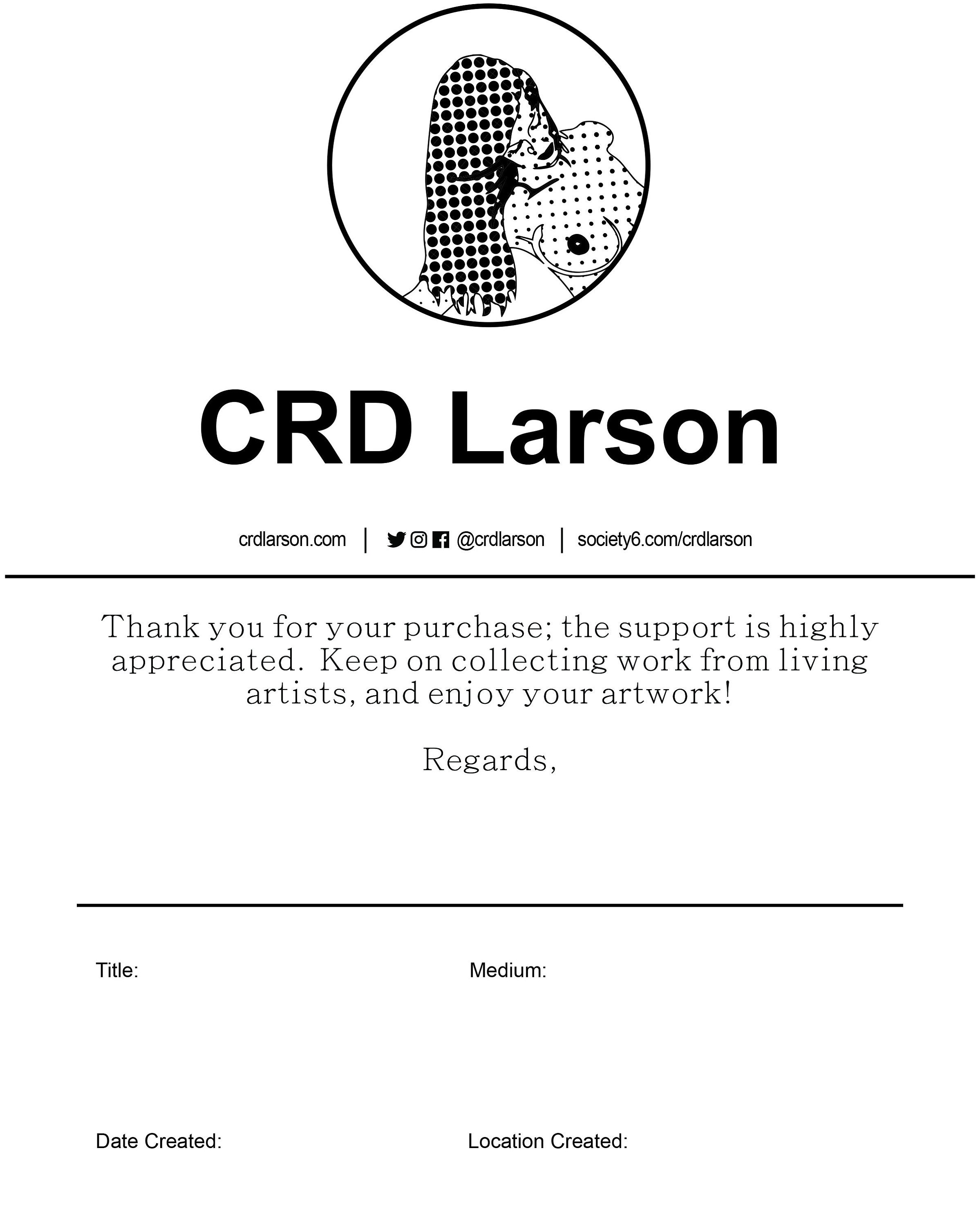 CRD Larson Certificate of Authenticity