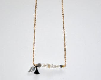 Gold-plated necklace, micro Agate and Labradorite beads, Silver wing paved Zircons, black tassel