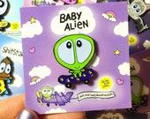 Baby Alien GLOW in the dark enamel pin, soft enamel pins, skateboarding