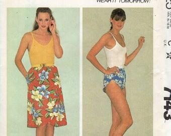 FREE US SHIP Vintage Retro 1980s 80's Sewing Pattern McCalls 7143 Mock Wrap Shorty Shorts Tulip leg Elastic Waist Skirt Waist 28 30 Uncut