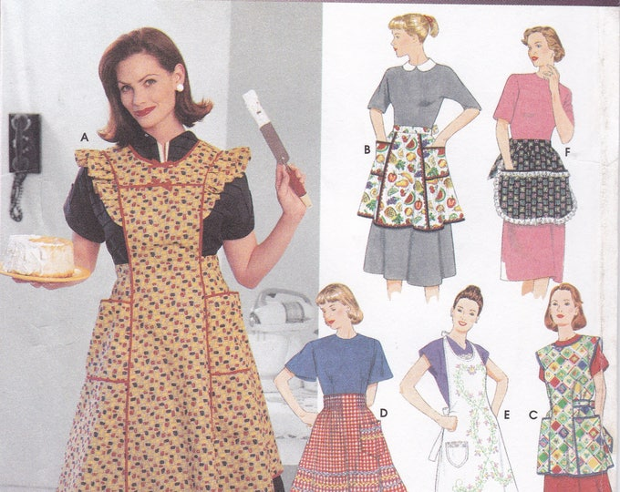 Free Us Ship Sewing Pattern Simplicity 8720 Retro Vintage Apron Reproduction All sizes Easy to Make Uncut Full Cobbler Half Pockets