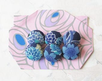 6 buttons in Japanese blue fabrics, cherry blossoms, diam 15 mm