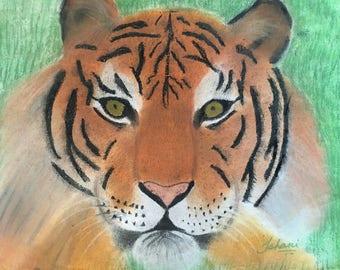 Original Chalk Pastels Art: Fierce Tiger