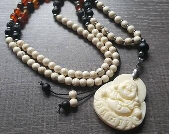 Mala gemstones, 108 beads, Buddha