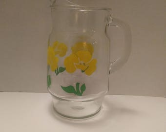 Vintage Anchor Hocking Yellow Poppy Drinking Pitcher