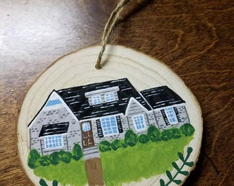 Custom Home Painted Wooden Holiday Ornament