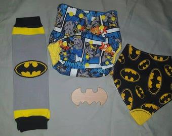 Medium Batman pocket cloth diaper, reversable teething bandana bib, and raw wooden batman teether set
