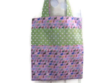 bag child kids tote bag, lined and reversible library bag, 2 bags in1