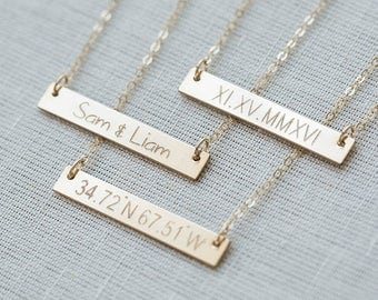 Gold Bar Necklace,Personalized necklace,Custom necklace,Custom Coordinates Necklace,Nameplate Necklace, initial necklace,Monogram Necklace,