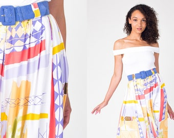 Colourful ABSTRACT print 80s midi skirt in WHITE 1980s Retro High Waisted Vintage Skirt with  detachable belt Extra Small , Small xs, s