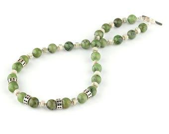 Canada Jade necklace, Nephrite Jade necklace, Jade silver necklace, Green stone necklace, Green silver necklace, Jade jewelry, Green Jewelry