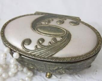 Vintage Oval Metal Trinket Box, Ornate Hinged Lid, Brass Footed Box, France