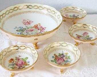 Rare Antique Limoges Porcelain Punch Set, Dessert Bowl Set, Large Footed Bowl and 4 Small Bowls, Handpainted Flower Decor, France