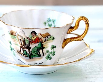 St. Patrick's Day Gift for Her Vintage Royal Tara Tea Cup and Saucer, Bone China Tea Cup, Shamrocks, Irish Gift, Spinning Wheel