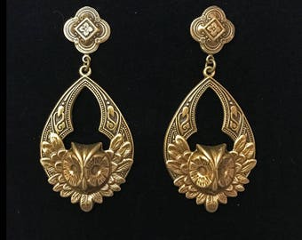 Large antiqued brass owl earrings- Moroccan style- 2.5 inches