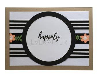 Wedding Card, Engagement Card, Bridal Shower Card, Black & Floral