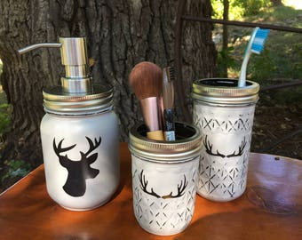 Deer Mason Jar Bathroom  Set-Cabin Bath Set-Mason Jar Bathroom Set-Antler Jar-Mason Jar Bathroom Set-Bathroom Decor-cabin decor-